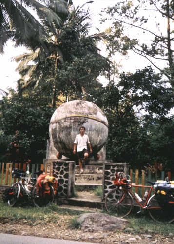 A tourist in Sakido Mura when event of Cycling Across Equator in 1991